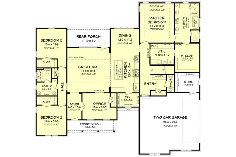 Farmhouse Floor Plan - Main Floor Plan Plan #1067-3