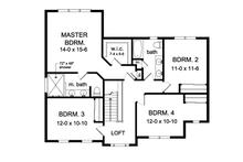 Country Floor Plan - Upper Floor Plan Plan #1010-89