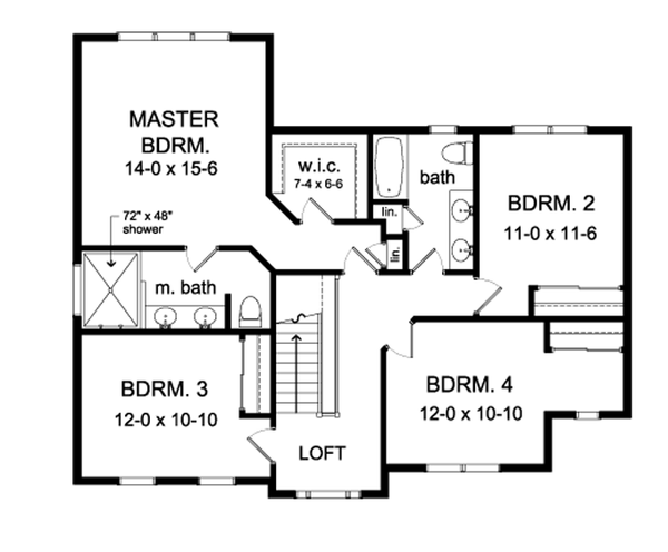 Country Floor Plan - Upper Floor Plan Plan #1010-89