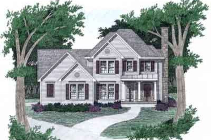 Southern Style House Plan - 3 Beds 2.5 Baths 1696 Sq/Ft Plan #129-141 Exterior - Front Elevation
