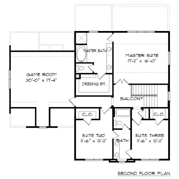 Tudor Floor Plan - Upper Floor Plan Plan #413-877