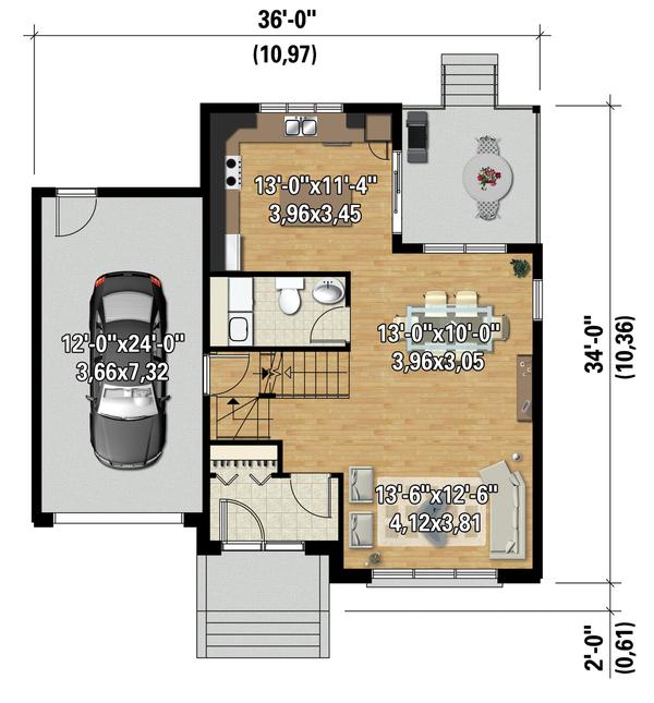 Contemporary Floor Plan - Main Floor Plan Plan #25-4623