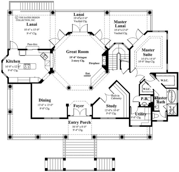 Southern Floor Plan - Main Floor Plan Plan #930-18