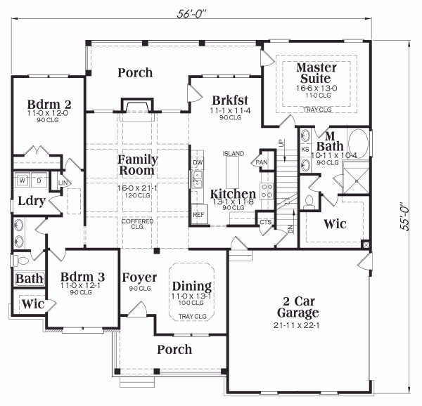 Ranch Floor Plan - Main Floor Plan Plan #419-148
