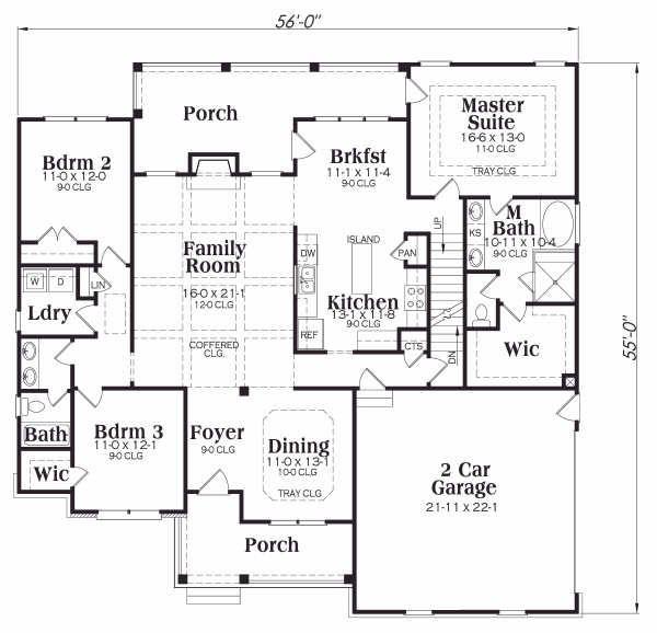 Home Plan - Ranch Floor Plan - Main Floor Plan #419-148