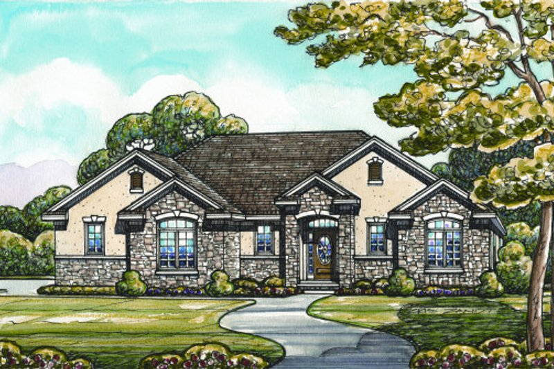 Traditional Style House Plan - 3 Beds 2 Baths 1672 Sq/Ft Plan #20-2097 Exterior - Front Elevation