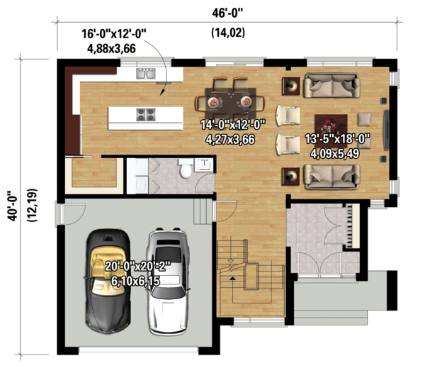 Contemporary Floor Plan - Main Floor Plan Plan #25-4280