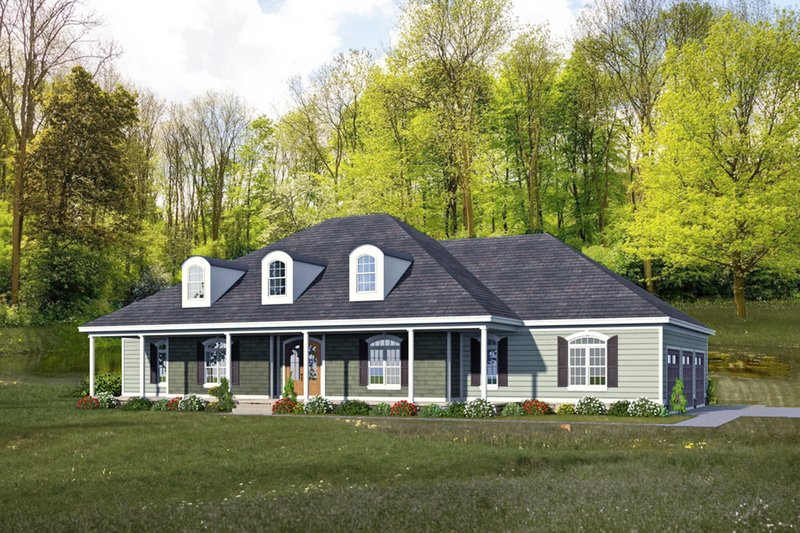 Country Style House Plan - 4 Beds 4.5 Baths 3491 Sq/Ft Plan #932-21 Exterior - Front Elevation
