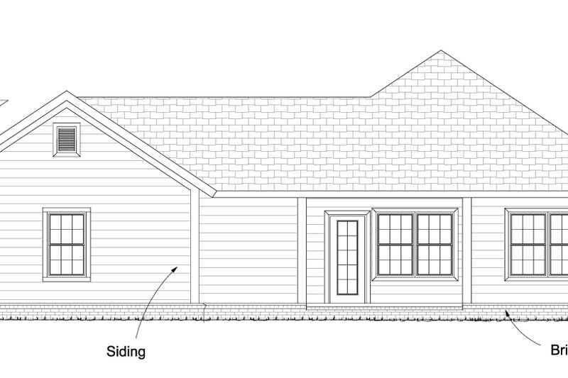 Cottage Exterior - Rear Elevation Plan #513-2083 - Houseplans.com