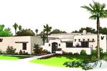 Adobe / Southwestern Exterior - Front Elevation Plan #72-119