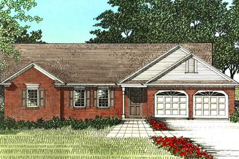 Traditional Style House Plan - 3 Beds 2 Baths 1338 Sq/Ft Plan #56-110 Exterior - Front Elevation