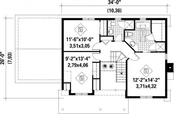 Farmhouse Floor Plan - Upper Floor Plan Plan #25-4262