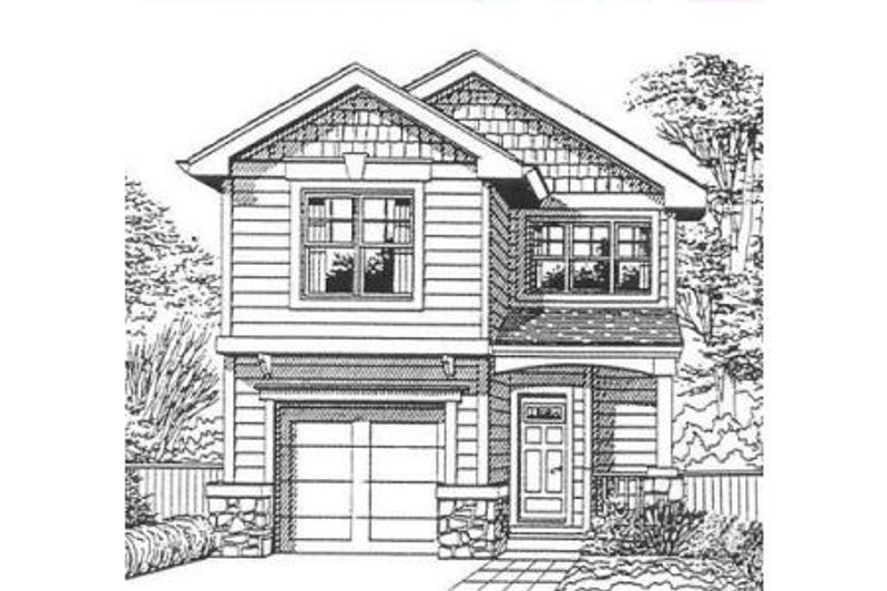 Craftsman Style House Plan - 3 Beds 2.5 Baths 1400 Sq/Ft Plan #53-120 Exterior - Front Elevation