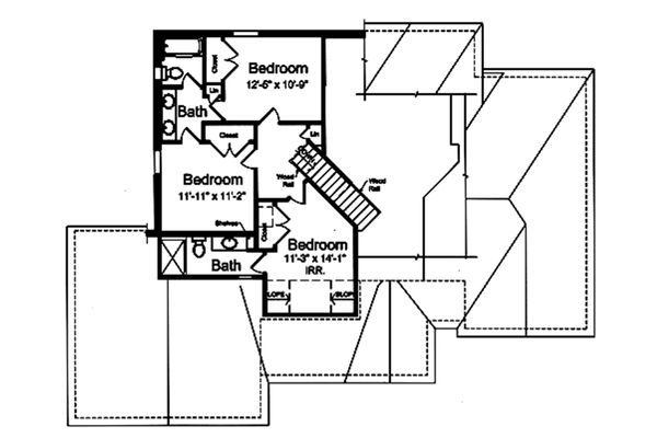 Traditional Floor Plan - Upper Floor Plan Plan #46-869