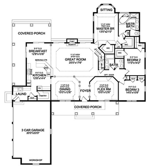 Craftsman Floor Plan - Main Floor Plan #456-33