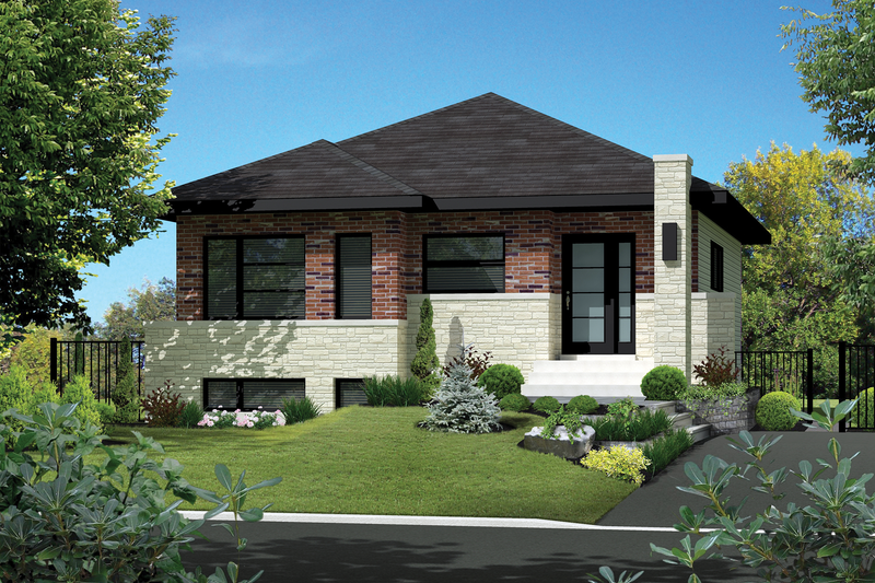 Contemporary Style House Plan - 2 Beds 1 Baths 911 Sq/Ft Plan #25-4372 Exterior - Front Elevation