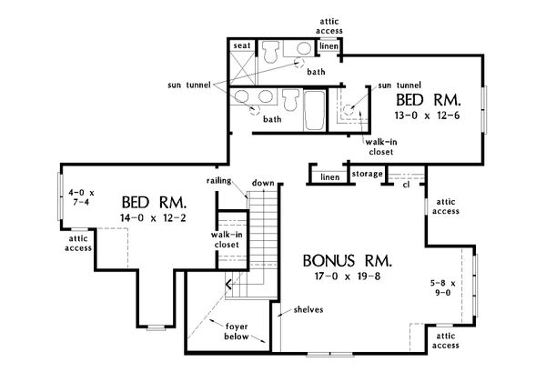 Farmhouse Floor Plan - Upper Floor Plan Plan #929-1035