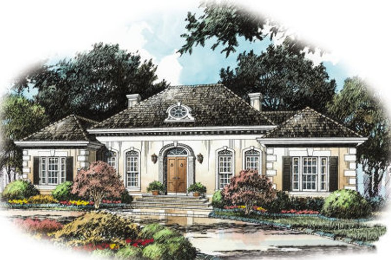 European Style House Plan - 4 Beds 3 Baths 2785 Sq/Ft Plan #429-6 Exterior - Front Elevation