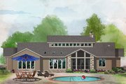 Contemporary Style House Plan - 4 Beds 3.5 Baths 2798 Sq/Ft Plan #929-1074 Exterior - Rear Elevation