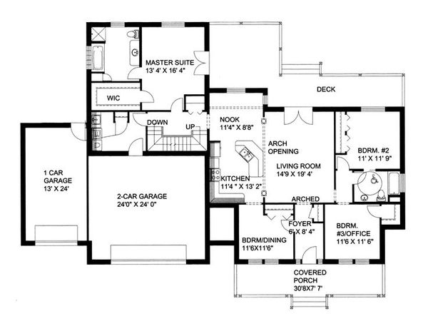 Southern Floor Plan - Main Floor Plan Plan #117-147