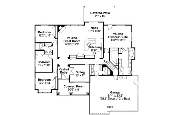 Craftsman Floor Plan - Main Floor Plan Plan #124-460