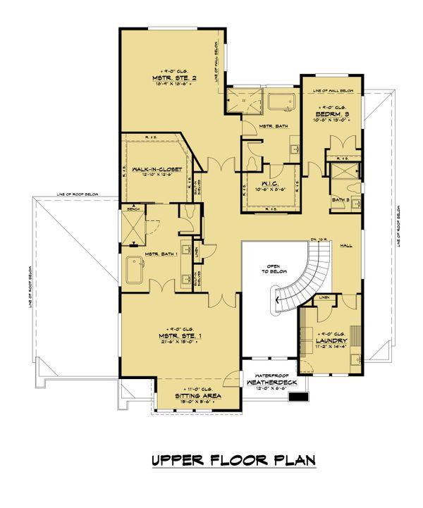 Contemporary Floor Plan - Upper Floor Plan #1066-132