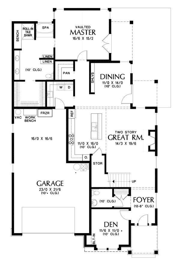Craftsman Floor Plan - Main Floor Plan Plan #48-994