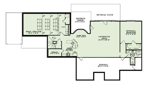 European Floor Plan - Lower Floor Plan Plan #17-2509