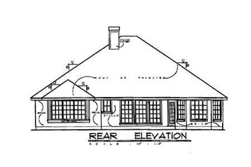 European Exterior - Rear Elevation Plan #40-119 - Houseplans.com