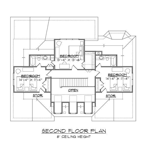 Beach Floor Plan - Upper Floor Plan Plan #1054-68