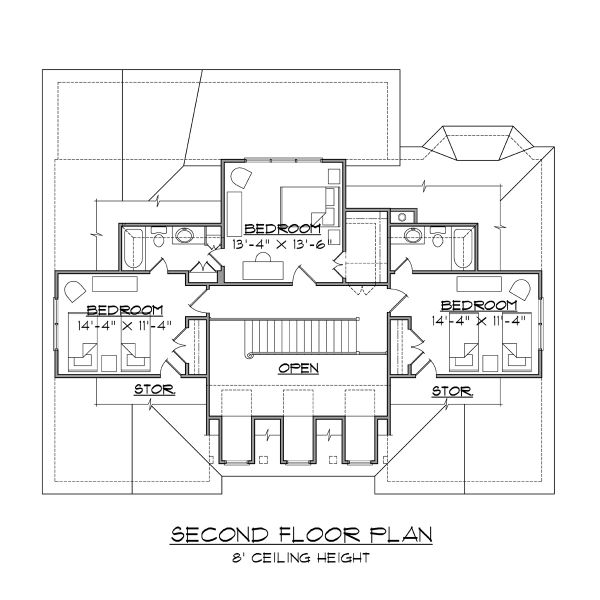 House Plan Design - Beach Floor Plan - Upper Floor Plan #1054-68