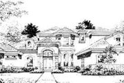 Mediterranean Style House Plan - 4 Beds 5 Baths 4603 Sq/Ft Plan #135-111 Exterior - Front Elevation