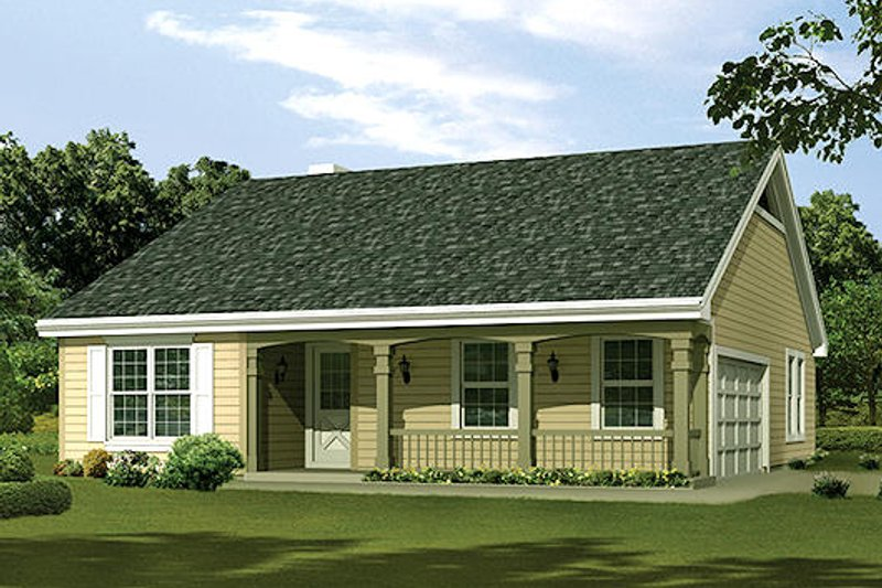 Cottage Style House Plan - 3 Beds 2 Baths 1202 Sq/Ft Plan #57-381 Exterior - Front Elevation