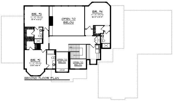 Craftsman Floor Plan - Upper Floor Plan Plan #70-1295