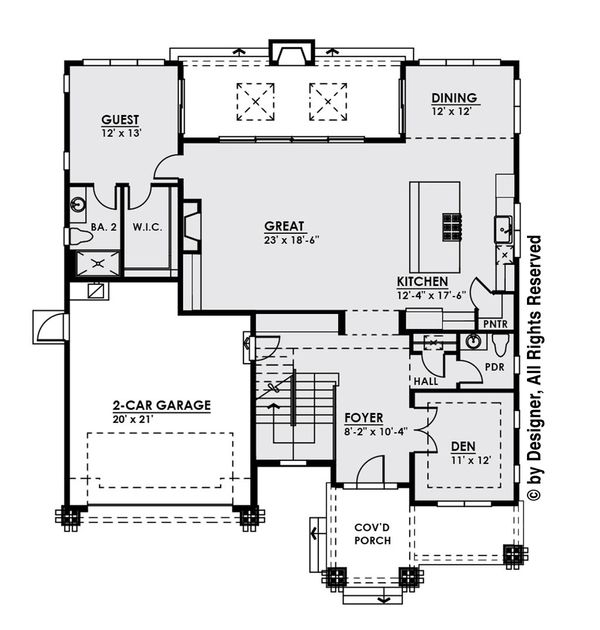 Modern Floor Plan - Main Floor Plan Plan #1066-13