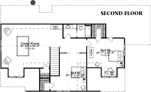 Country Floor Plan - Upper Floor Plan Plan #63-409
