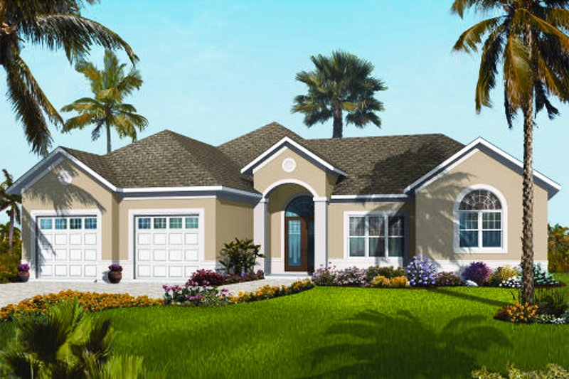 Mediterranean Style House Plan - 3 Beds 2.5 Baths 2388 Sq/Ft Plan #23-2224 Exterior - Front Elevation