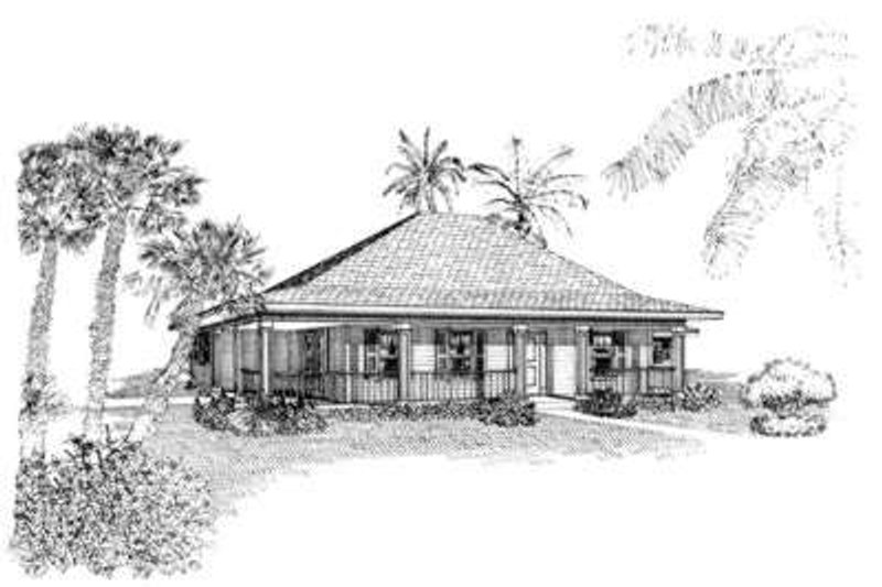 Southern Style House Plan - 3 Beds 2 Baths 1370 Sq/Ft Plan #410-255 Exterior - Front Elevation