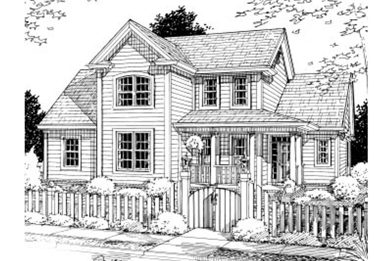 Traditional Style House Plan - 3 Beds 2.5 Baths 1664 Sq/Ft Plan #20-370 Exterior - Front Elevation