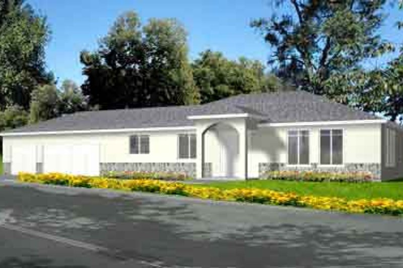 European Style House Plan - 3 Beds 2 Baths 2026 Sq/Ft Plan #1-1403 Exterior - Front Elevation