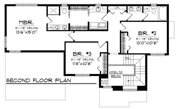 Craftsman Floor Plan - Upper Floor Plan Plan #70-1132