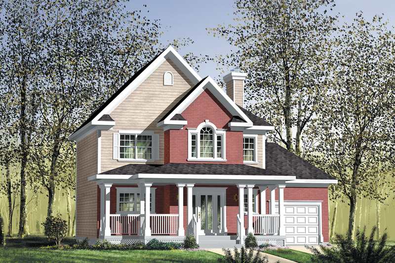 Country Style House Plan - 3 Beds 1 Baths 1664 Sq/Ft Plan #25-4551 Exterior - Front Elevation