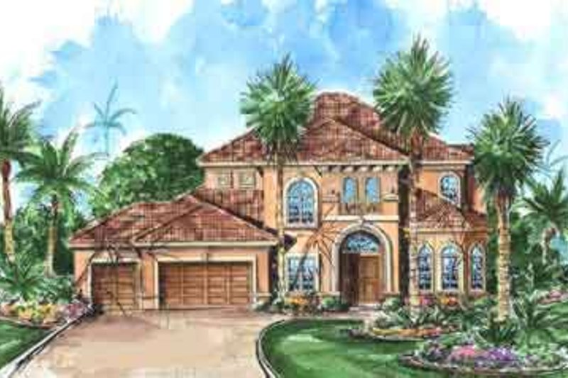 European Style House Plan - 4 Beds 3.5 Baths 4098 Sq/Ft Plan #27-266 Exterior - Front Elevation