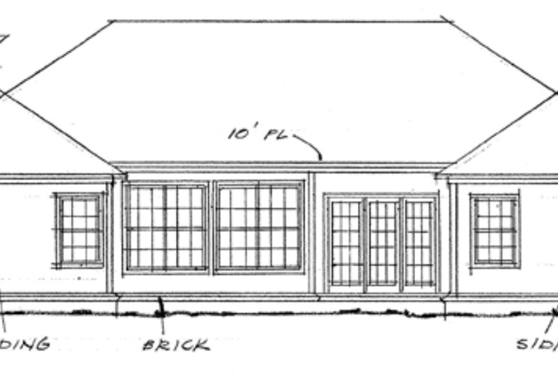 Ranch Exterior - Rear Elevation Plan #20-357 - Houseplans.com