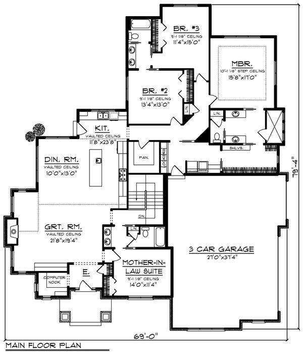 Ranch Floor Plan - Main Floor Plan Plan #70-1202