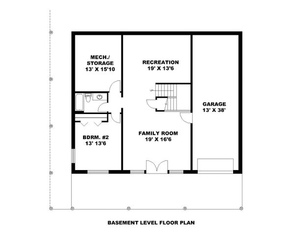 Craftsman Floor Plan - Lower Floor Plan Plan #117-873