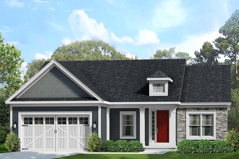 Ranch Style House Plan - 2 Beds 2 Baths 1741 Sq/Ft Plan #1010-228 Exterior - Front Elevation