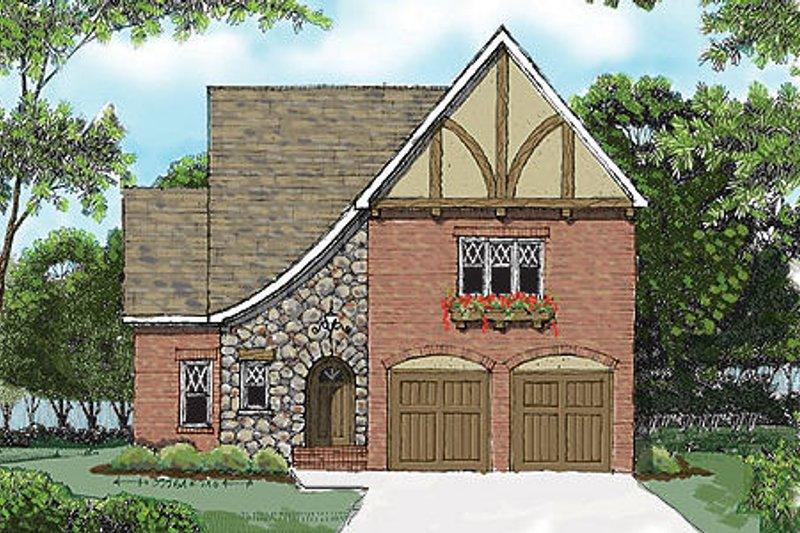 Dream House Plan - Tudor Exterior - Front Elevation Plan #413-137
