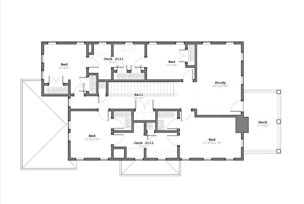 Contemporary Floor Plan - Upper Floor Plan Plan #926-4