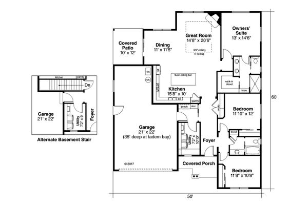 House Plan Design - Ranch Floor Plan - Main Floor Plan #124-1044